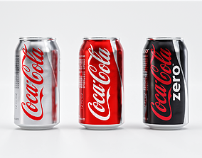 3D asset Set of Coca Cola Cans - Classic Zero Diet Coke