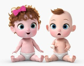 Cartoon Baby Twin Rigged 3D