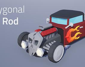 3D asset Hot Rod Polygonal Car Model - Game Ready