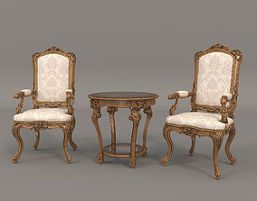 3D furniture Classic Armchair and Table Set 3