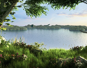 Lakeside park scenery 004 3D model