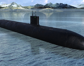 Military Submarine 3D model game-ready