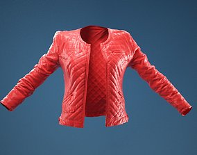 Black Padded Leather Jacket Open 3D