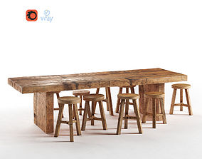 3D asset realtime Wooden Dining Table
