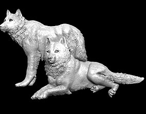 3D model Wolves bas relief