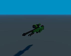 3D model game-ready Sniper rifle gun