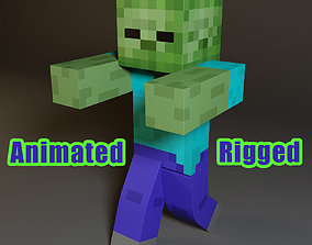 zombie 3D Minecraft Zombie Rigged Animated