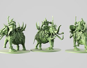 3D printable model ogre on battle elephant