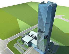 3D Office Building apartment plaza