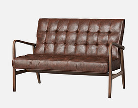 3D model Mid Century Sofa Leather