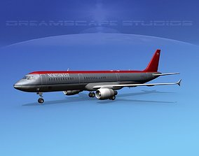 Airbus A321 Northwest 3D model