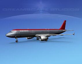 Airbus A321 Northwest 3D model