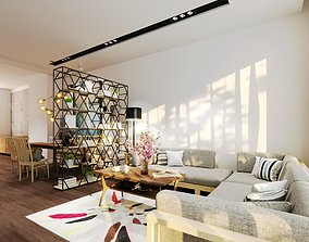 Apartment Living and Dining Room Interior Model realtime 3