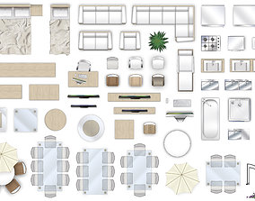 2d furniture top-down view style-4 3D