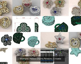 Wireframe Flowers Charms Pendants 3D model
