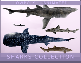 3D model Lowpoly Sharks Collection