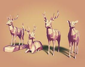LowPoly Cartoon Deers 3D asset