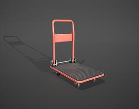 Folding Platform Truck - Trolley - Red 3D asset