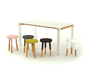 3D model Contemporary Table and Stools