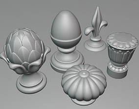 WoodCarving Finial collection - 3d model for CNC