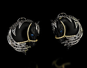 Earrings Black Horse 3D print model