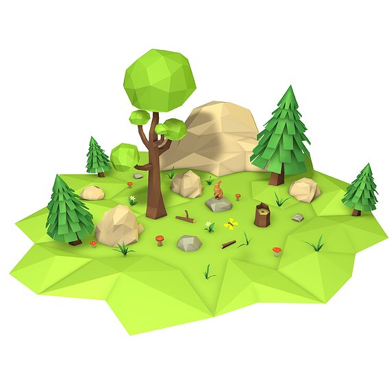Low-poly-forest