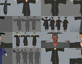 Academic Gown Graduate Collection 3D models