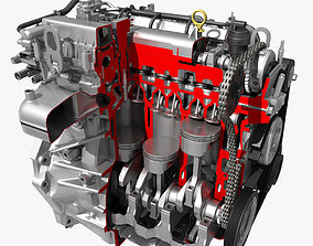 Car 4 Cylinder Engine Cutaway 3D