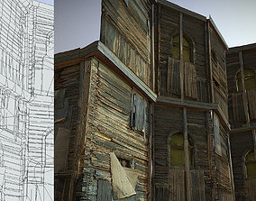 3D asset Decaying old modular wooden photorealistic