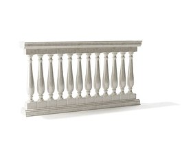 3D model White Classic Banister Railing