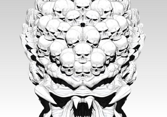 Predator monster head with skulls. High detailed. [ 3d printable ]