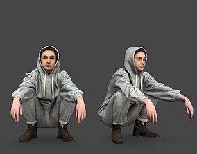 Stylized Girl Squatting 3D model