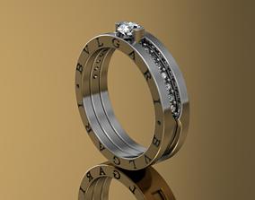 diamond ring BVLGARI platinum 3D printable model