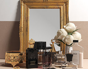 3D Antique Mirror Flowers and Perfume Set