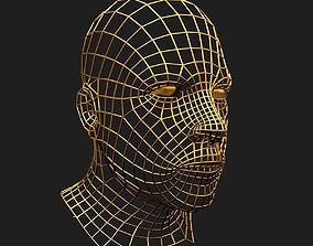 Human Face Wireframe Geometry 3D model