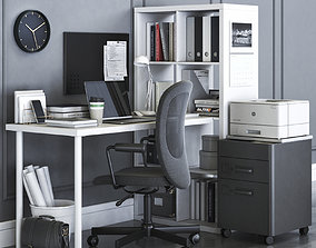 3D model Ikea KALLAX office workplace with FLINTAN chair