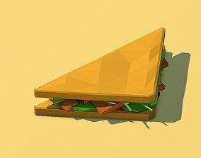 3D asset Cartoon Low Poly Sandwich lowpoly
