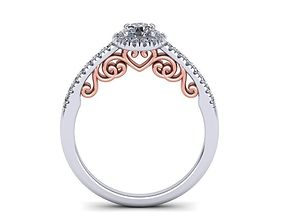 3D print model Round Halo Engagement ring with heart 1