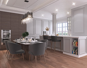 3D model Interior Kitchen and Dining Room Classic