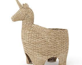 Unicorn wicker basket 3D model