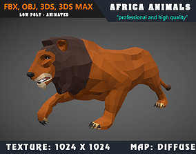 Low Poly Lion Cartoon 3D Model Animated - Game animated