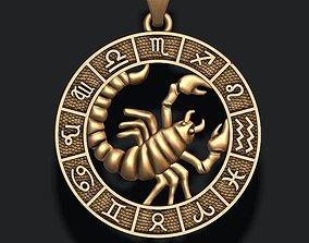 zodiac Scorpion lite 3D print model necklaces