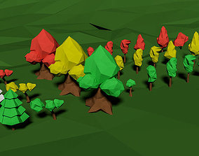 Low Poly Game Trees Pack 3D model