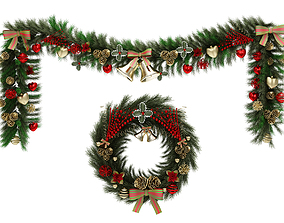 3D Christmas wreath and garland set ornament