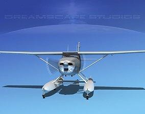 3D model Cessna 182 Seaplane Bare Metal