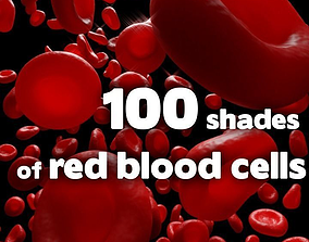 100 shades of red blood cells 3D asset