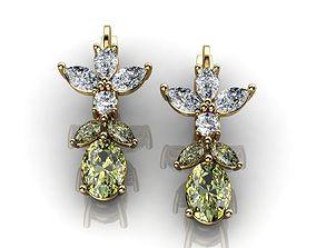 Green Sapphire And Diamond Earrings 3D print model