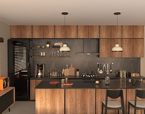 3D model Open Plan Living Room with Kitchen