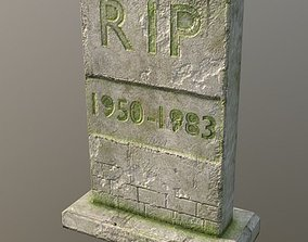 3D model Low Poly Old Mossy Gravestone