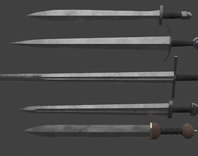 3D asset Set of Five One-Handed Swords
